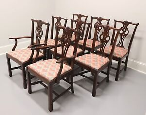 HICKORY CHAIR Solid Mahogany Chippendale Straight Leg Dining Chairs - Set of 8