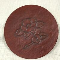 Vintage Japanese Lacquer Ware Plate Hand Carved Signed Wooden Flower Plaque