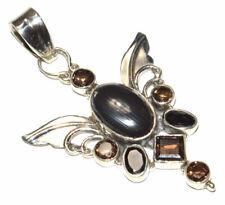 Angel Wing - Crown Of Silver Psilomelane 925 Silver Pendant JB16381