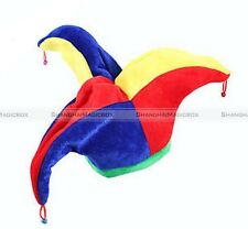 Multicolor Jester Clown Costume Hat Mardi Gras Halloween Carnival Party S3
