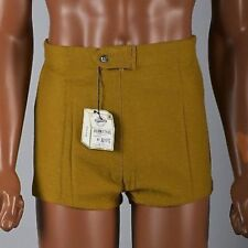 Medium 30 Mens Deadstock Vintage 1960s 60s Mod Gold Cotton Knit Mini Shorts