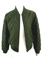 Pam & Gela Green Bomber Jacket Quilted Zip Coat Lace Up Sleeve Small S New CL