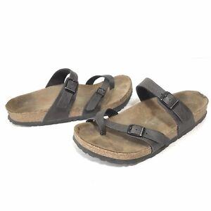 Birkenstock Mayari Womens 8 US 39 EU Sandals Black Pebbled Leather Flats