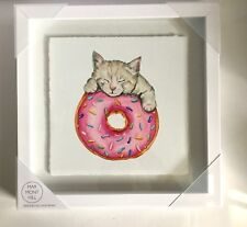 "Marmont Hill Framed Art Print 'Donut & Kitty Cat' 12 x 12""  Cats NEW"