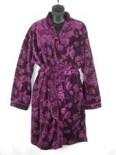 Karen Neuburger Womens Robe Small Velvet Purple Floral Wrap Belted Knee Length