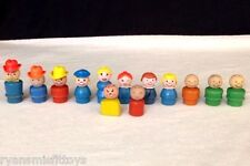 VTG Fisher Price Little People WOODEN FIGURES LOT 13 Pcs. We Play Cowboy Mom Boy