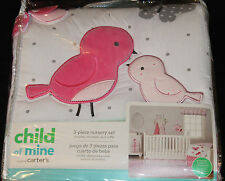 Carter's Child of Mine Birds Butterflies 3 Pc Baby Girl Crib Bedding Set pink