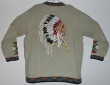 Storybook Knits Womens Sweater Native American Indian Chief Beaded sequins Large