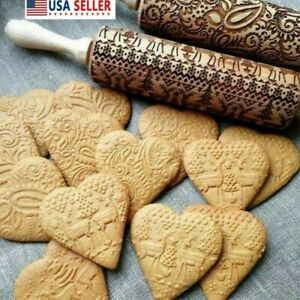 Kitchen Baking Tool for Baking Christmas Theme Pastries /& Cookies LOCOLO Christmas Wooden Rolling Pins Elk Snowflake Christmas Pattern 3D Engraved Embossing Rolling Pin 3 PCS Cookie Cutters