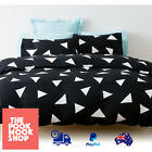 BLACK Duvet Cover BEDDING SET (Doona Quilt BED) Comfort, WHITE TRIANGLE, Printed