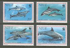 NIUE 1993, SEA LIFE, MARINE LIFE: DOLPHINS, WWF, Scott 651-654, MNH