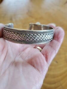 Sterling Silver CUFF BRACELET Weave Woven Look