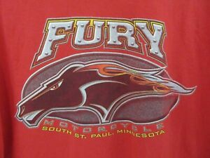 Vintage Fury Motorcycle Mens T Shirt Size XL Crew Neck Large Graphic Red Rare