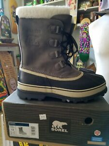 NOS SOREL Men's Caribou Waterproof Snow Winter Boots Shale (Grey) US 12 NIB