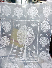 Indian Cotton White Applique Blanket Throw Bed Cover Bedspread Decor Cut Work