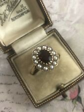 Vintage 9ct Yellow Gold Oval Garnet & Pearl Cluster Dress Ring Size O