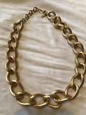 Monet Signed Vintage 70s Necklace Chain Link Interlocking Jewelry Rope Collar