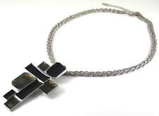 CHUNKY DECO STYLE NECKLACE WITH RETRO BLACK AND BROWN ENAMELLED SILVER PENDANT