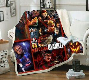 Cool Horror Movie Chucky 3D Print Sherpa Blanket Sofa Couch Quilt Cover Throw