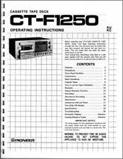 Pioneer CT-F1250 Cassette Tape Deck Owners Manual