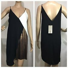 ZARA NEW GOLD METALLIC COLOR BLOCK SHORT DRESS SIZE M 10