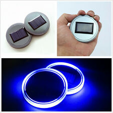 2 X Acrylic Material Solar Energy Car SUV Cup Holder Bottom Pad & Blue LED Light