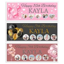 X 2 PERSONALISED BALLOONS BIRTHDAY PHOTO COLLAGE BANNER WALL DECORATION ANY AGE