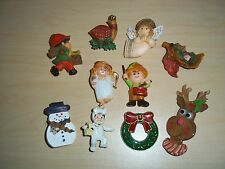 Vintage Lot 10 Christmas Pins Hallmark Angel, Rooster, Drummer Boy, & Others