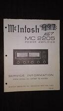 Mcintosh mc 2205 Service Manual original repair book stereo power amplifier amp