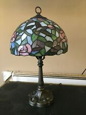 "19"" Vintage Tiffany Style  Lamp Blue & Pink Stained Glass  with Hummingbirds"