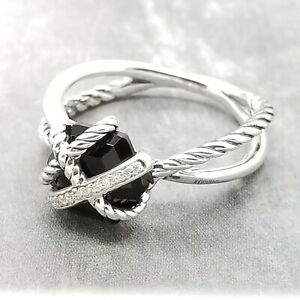David Yurman Sterling Silver Diamonds Cable Wrap Black Onyx ring Band size 7