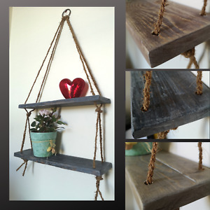 Rustic Vintage Shelves Handmade Wooden Natural Wood Floating Hanging Rope Shelf