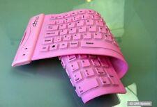 MediaTech Rubber Tastatur flexible, faltbare Silikon Gummitastatur, Pink, OST-EU
