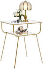 EKR Bedside Table Night Stands Side Table Tempered Glass Top for Bedrooms Living