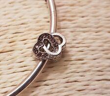 INTERLOCKING LOVE HEARTS RHINESTONE SPARKLEY BEAD Silver European Charm Bracelet
