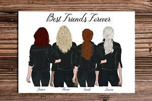 "Best Friends in Black Denim A4/10""x8"" Prints A5 or A6 cards High Gloss"