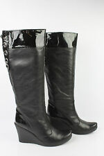 Boots heels Wedge CAFE Noir Black Leather T 38 VERY GOOD CONDITION