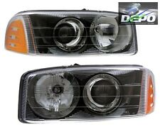 99-06 GMC Sierra Denali Yukon XL Black Projector Head Light DEPO Pair