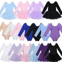 Girls Kids Ballet Dance Dress Gymnastics Leotard Long Sleeve Tutu Skirt Costume