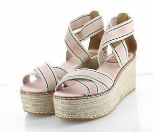 34-47 $278 Women's Sz 8 M Tory Burch Frieda Espadrille Wedge Strap Sandal - Pink