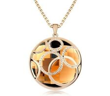 18K WHITE GOLD GP Made With SWAROVSKI CRYSTAL NECKLACE Gold Brown Color