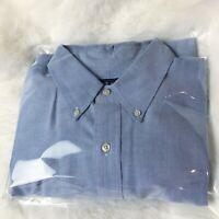 Mens Polo Ralph Lauren Classic Fit Blue Oxford Dress Shirt Size 17 1/2 - 34