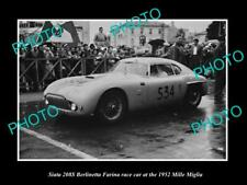 OLD 6 X 4 HISTORIC PHOTO OF SIATA 208S BERLINETTA RACE CAR 1952 MILLE MIGLIA 2