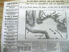<2 1861 CIVIL WAR newspapers MAP Troop Buildup b4 FORT SUMTER ATTACK