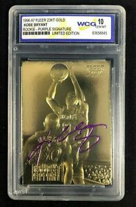1996-97 KOBE BRYANT FLEER 23K Gold ROOKIE Card Purple Signature GEM MINT 10