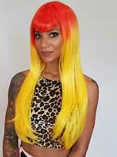 Orange & Yellow Long Straight Xtina Wig. V Shape Fringe. Goth Cosplay Costume