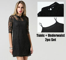 Lace Short/Mini Clubwear Tunic Dresses for Women