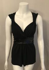 Stunning White House Black Market Sequin Tie Waist Jersey Top Size L