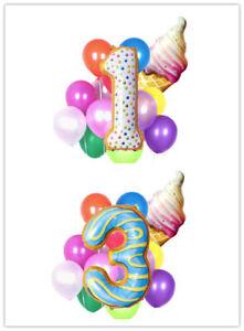 Cartoon Ice Cream Numbers 0-9 Aluminum Foil Balloon Birthday Party Decoration HO