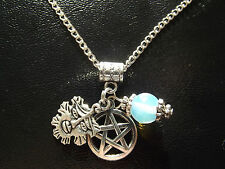 Pagan Green Man Pentacle and Moonstone Necklace   Witch Wicca  Amulet